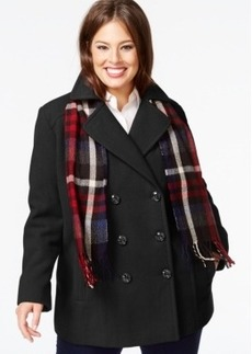 London Fog Plus Size Double-Breasted Peacoat with Plaid Scarf