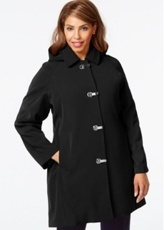 London Fog Plus Size Hooded Clip-Front Jacket