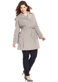 London Fog Plus Size Hooded Layered-Lapel Trench Coat