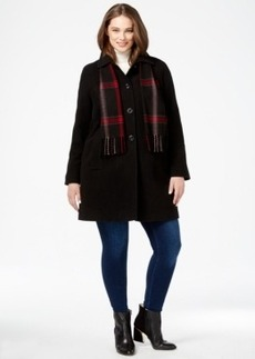London Fog Plus Size Peacoat with Plaid Scarf