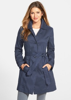 London Fog Polka Dot Single Breasted Trench Coat