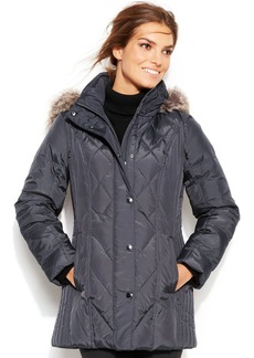 London Fog Quilted Hooded Down Puffer Coat