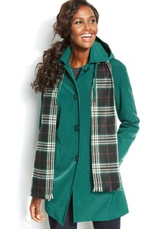 London Fog Petite Hooded Single-Breasted Trench Coat with Plaid Scarf