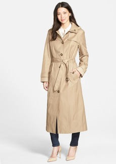 London Fog Single Breasted Long Trench Coat with Detachable Hood (Online Only)