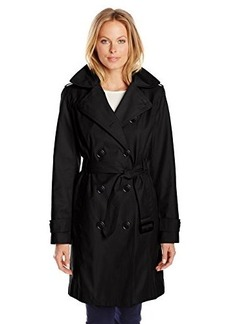 London Fog Women's Double-Breasted Hooded Trench Coat