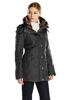 London Fog Women's Down Coat with Quilted Side Panels