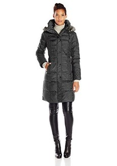 London Fog Women's Down Coat with Quilted Side Panels,