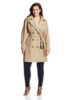London Fog Women's Plus-Size Double-Breasted Hooded Trench Coat