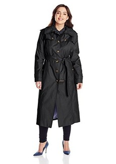London Fog Women's Plus-Size Long Single Breasted Trench Coat with Hood