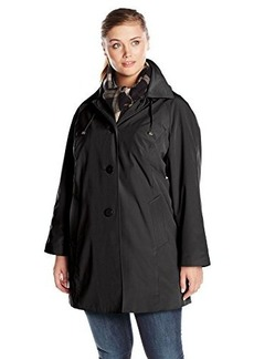London Fog Women's Plus-Size Single-Breasted Coat with Scarf