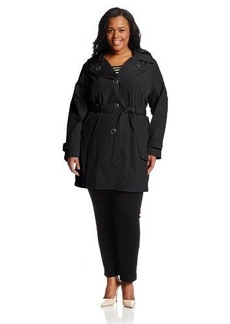 London Fog Women's Plus-Size Single-Breasted Double-Collar Trench Coat