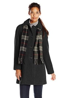 London Fog Women's Single-Breasted Chic Coat with Seaming Detail
