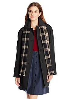 London Fog Women's Single Breasted Coat with Scarf