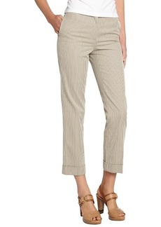 Loro Piana beige and ivory cotton striped 'Menphis Sugar' cropped pants