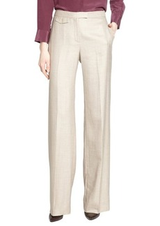 Loro Piana beige 'Boulevard' cash silk linen wide leg pants