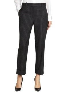 Loro Piana black and white 'Menphis' small stripe cropped pants