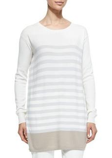 Loro Piana Cashmere Knit Colorblock Striped Tunic, Crystal Sand