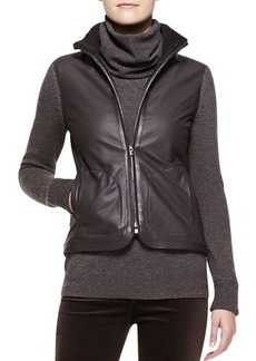 Loro Piana Central Park Leather Bomber Jacket with Cashmere Sleeves