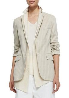 Loro Piana Deneu Linen-Blend Pinstriped Jacket, Straw/White