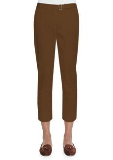 Loro Piana Giles Flat-Front Poplin Pants, Ginger Brown