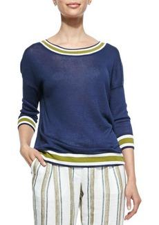 Loro Piana Linen Stripe-Trimmed Reversible Sweater, Midnight Fancy