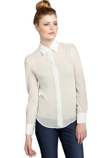 Loro Piana mint striped silk button down blouse