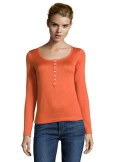 Loro Piana orange button front cotton henley top