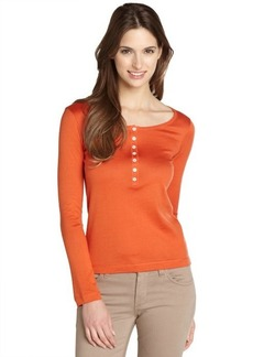 Loro Piana orange button front cotton henley top