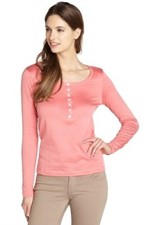 Loro Piana pink henley cotton long sleeve top