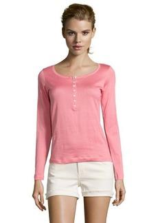Loro Piana pink henley cotton long sleeve top