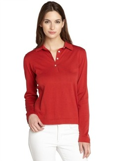 Loro Piana red long sleeve polo shirt