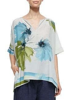 Loro Piana Shirlee Blooming Flower-Print Silk Blouse, Leaves Hibiscus