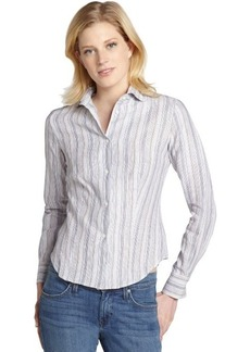 Loro Piana white and thin grey stripe linen blouse