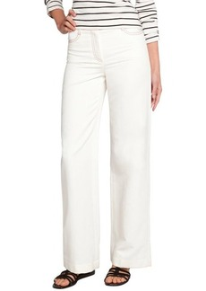 Loro Piana white cotton blend 'Montego Bay' wide leg pants