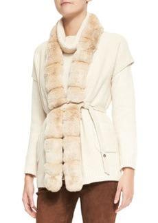 Paris Belted Chinchilla Fur-Trim Baby Cashmere Vest   Paris Belted Chinchilla Fur-Trim Baby Cashmere Vest
