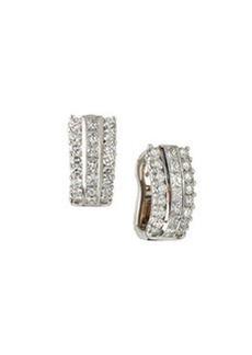 Luca Carati 18k White Gold Diamond Button Earrings
