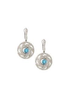 Luca Carati 18k White Gold Round Drop Earrings w/ Blue Topaz & Diamonds