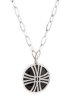 Luca Carati Circle Pendant Necklace with Onyx & Diamonds