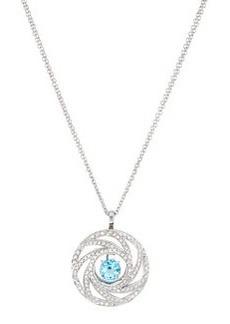 Luca Carati Circle Pendant Necklace with Topaz & Diamonds