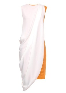 Lucas Nascimento Contrast draped-panel cut-out jersey dress