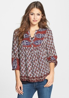 Lucky Brand 'Annabelle' Mixed Print Peasant Top