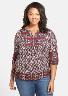 Lucky Brand 'Annabelle' Mixed Print Top (Plus Size)