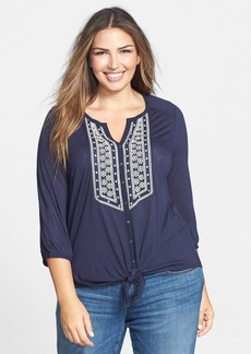 Lucky Brand 'Ariana' Tie Front Top (Plus Size)
