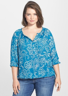 Lucky Brand 'Avalynn Gardens' Peasant Top (Plus Size)