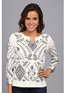 Lucky Brand Aztec Embroidered Pullover