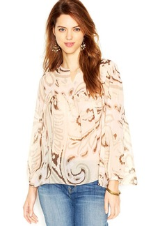 Lucky Brand Bell-Sleeve Split-Neck Printed Peasant Top