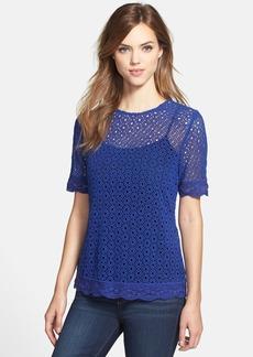 Lucky Brand Blue Lace Crewneck Top