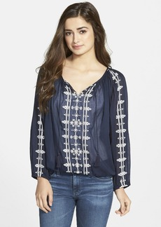 Lucky Brand 'Boho' Embroidered Peasant Top