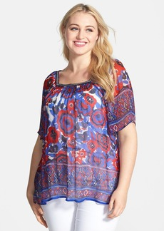 Lucky Brand Border Print Sheer Floral Peasant Top (Plus Size)
