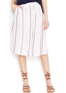 Lucky Brand Button-Front Striped Midi Skirt